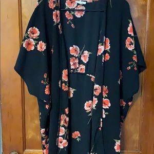 Black and coral floral kimono